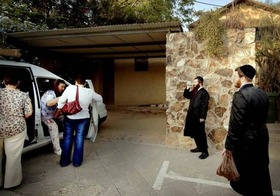 Orthodox Jews harass Messianic Christians arriving for a worship service. (World Watch Monitor)