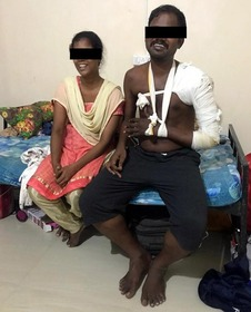 Pastor Mahesh and his wife in the hospital.